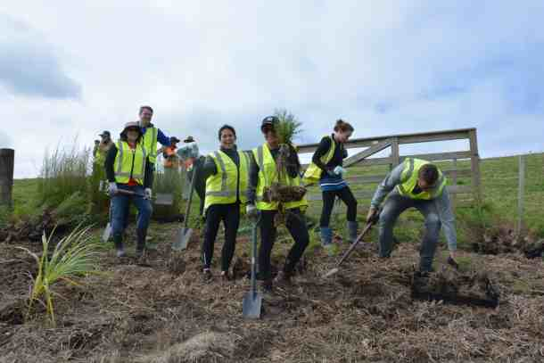 Stray team planting native trees at Atiu Creek with Conservation Volunteers NZ