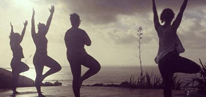 Yoga session at Inspiration Point, Raglan