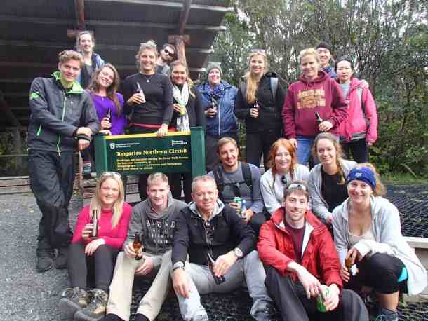 Group celebrating finishing the Tongariro Crossing