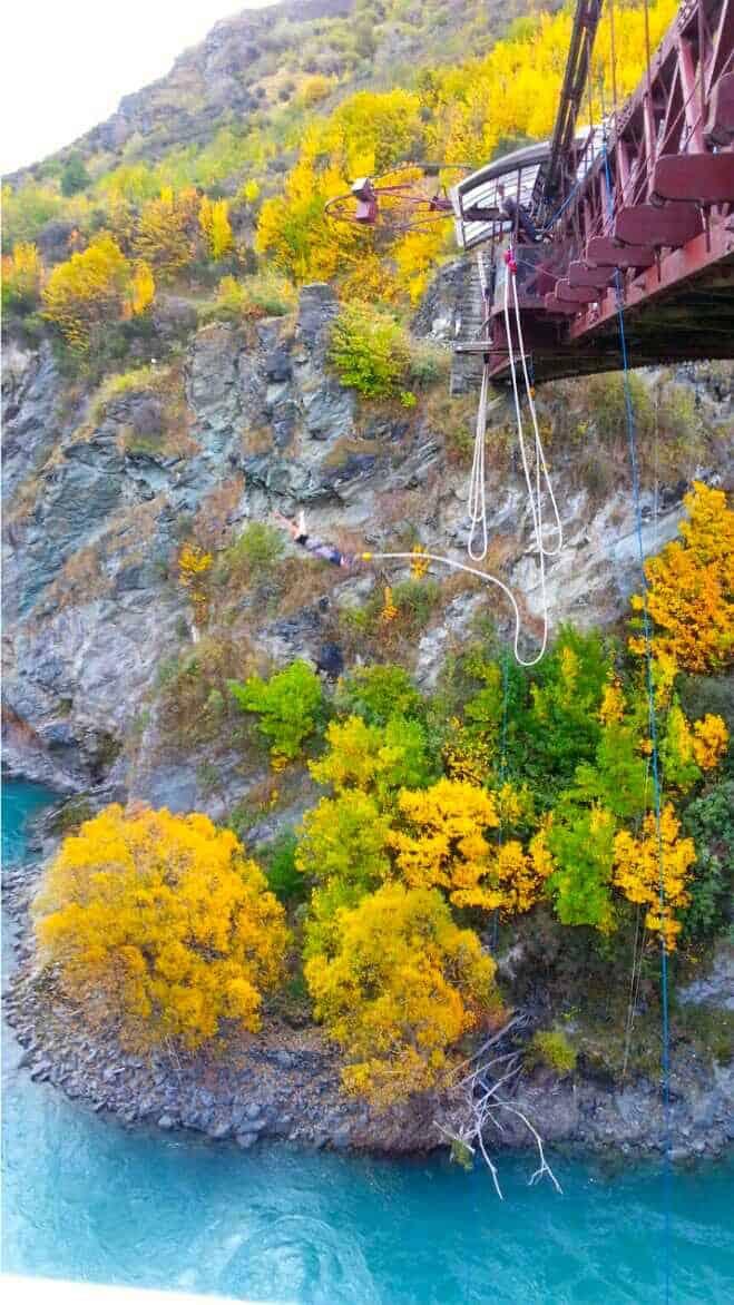 AJ Hackett Kawarau Bridge Bungy jump with autumn colours