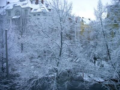 Schneebeckte Häuser und Bäume
