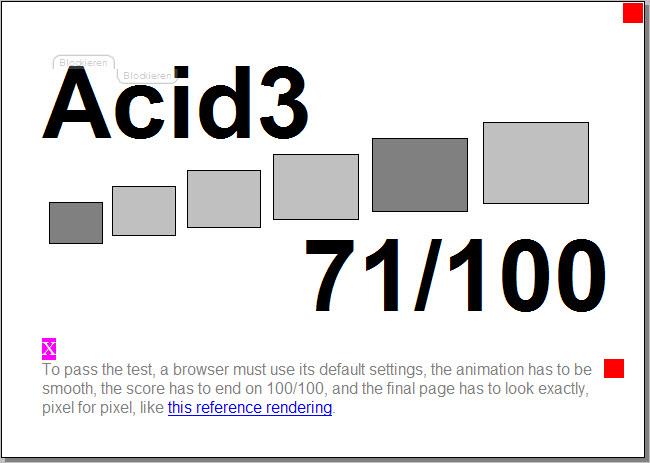 Beim Acid3 Test erreicht der Firefox 71 von 100 möglichen Punkten.