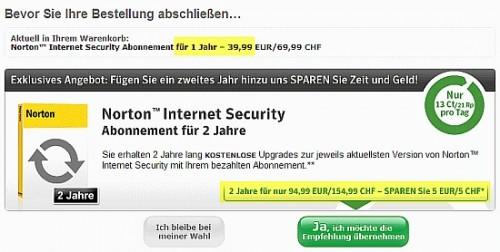 Abo-Preis für 1 Jahr = 39,99- Euro; Abo-Preis für 2 Jahre = 94,99- Euro. Angebliche Ersparnis: 5 Euro!