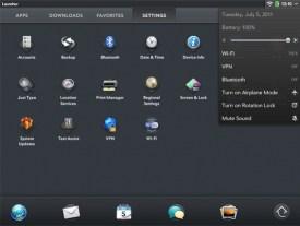 HP TouchPad Settings screen