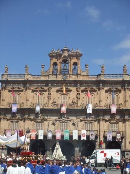 Facade of Plaza Mayor in Salamanca, Spain