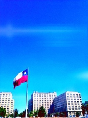 The Chilean Flag just outside the Palacio Presidencial in Santiago.