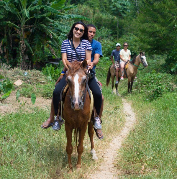 Two is Better Than One - My other friend Jina decided to ride the horse with some help from the boys at Baiguate.