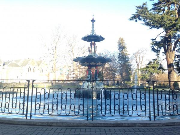 A fountain in Hagley Park in Christchurch.