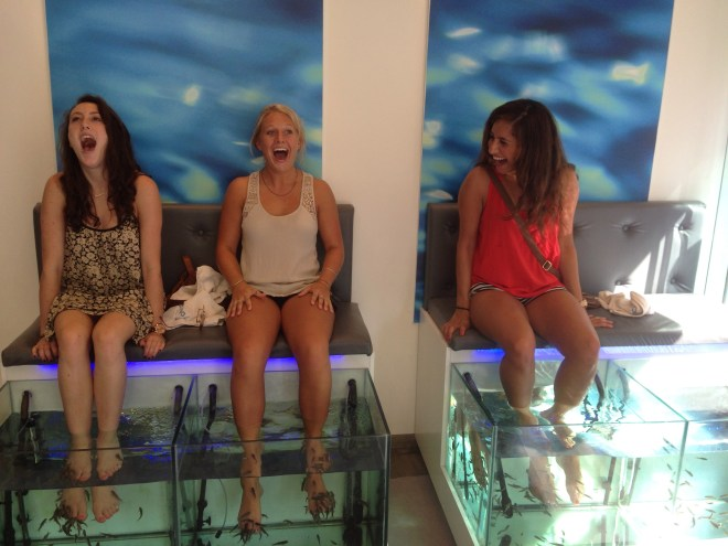 """My friends and I got """"fish pedicures"""" which is where fish suck all the dead skin off your feet."""