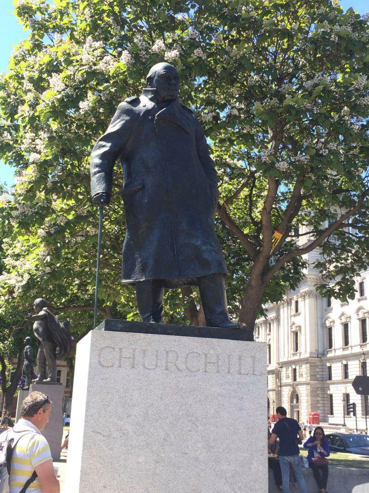 The Statue of Winston Churchill in Parliament Square