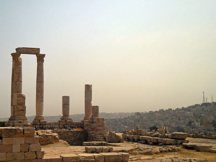 Another view of the grand Temple, featuring a backdrop of downtown Amman.