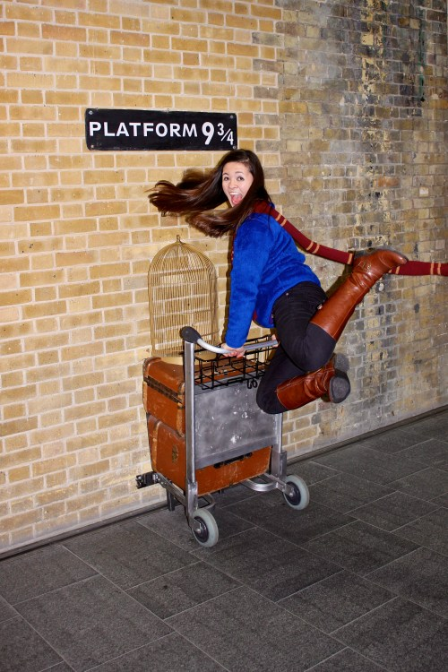Mimic Harry, Ron, Hermoine, and the rest of the Harry Potter crew by jumping through the barrier at Platform 9 ¾ to catch your train to Hogwarts!