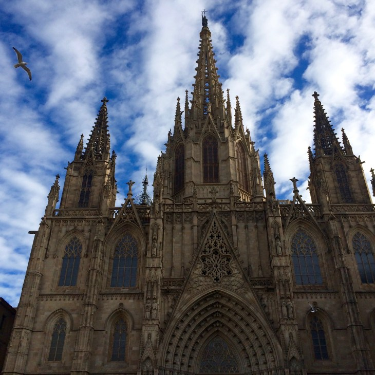 The Barcelona Cathedral on a beautiful, blue-sky day