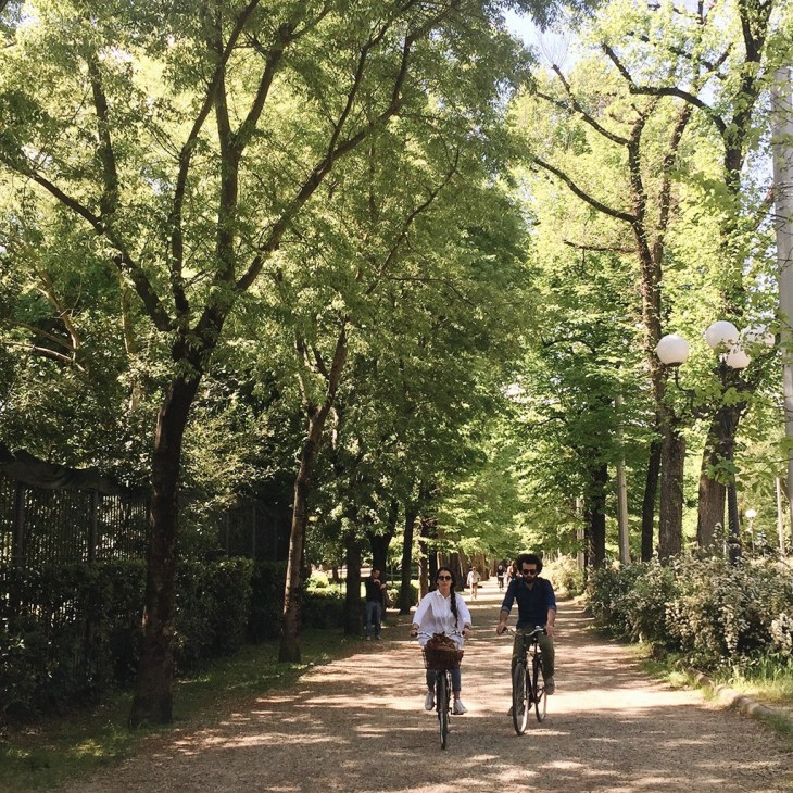 Cyclists enjoying the sunny weather in Parco Le Cascine