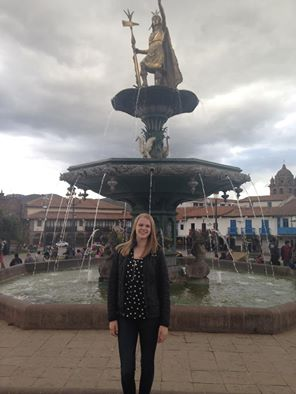 Me standing in front of the main fountain in the Plaza