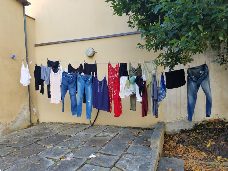 My first time hanging my clothes - seems like I could have done a better job!