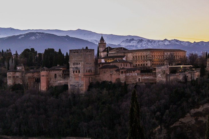 the alhambra in granada spain at sunrise