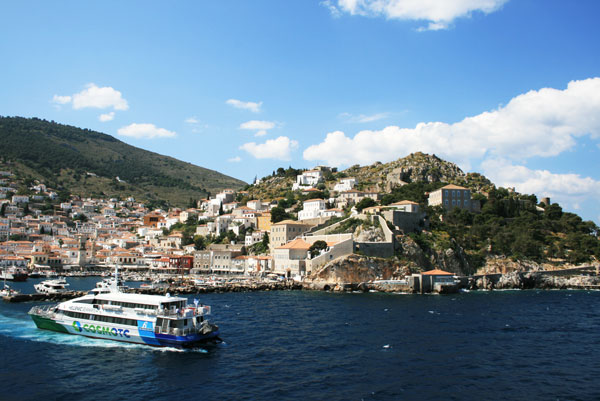 View of the coast of Hydra, Greece