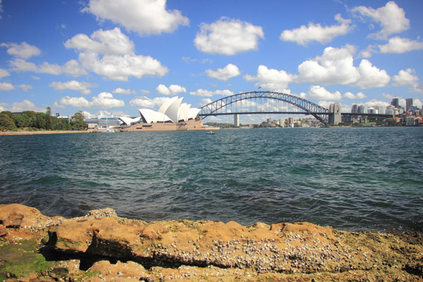 View of Sydney Opera House and Sydney Harbour.