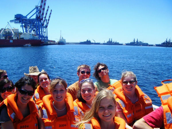 ISA students on a boat in Chile.