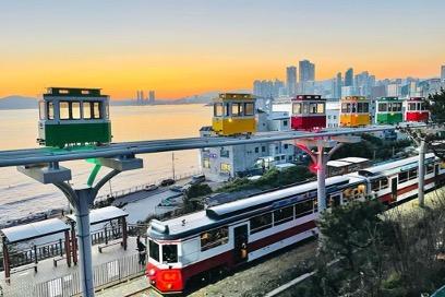 Haeundae Beach Train and Haeundae Sky Capsule in Busan, South Korea