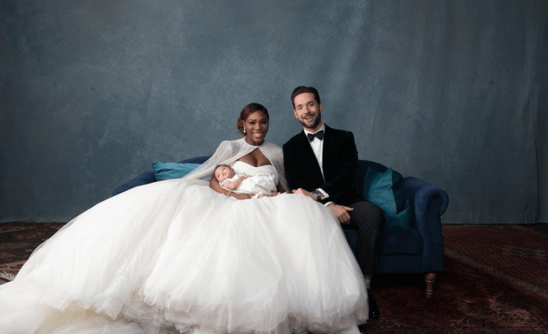 Serena Williams in a tulle ball gown Alexander McQueen wedding dress