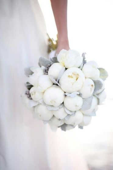 a winter white and silver wedding bouquet