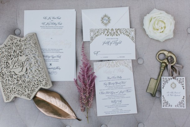 beautiful gold and white wedding invitations for a blush and gold winter wedding