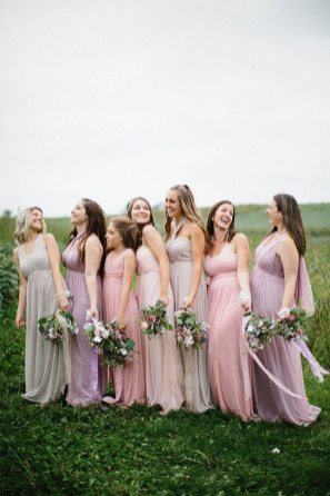blush pink and nostalgia rose bridesmaid dresses for a spring wedding