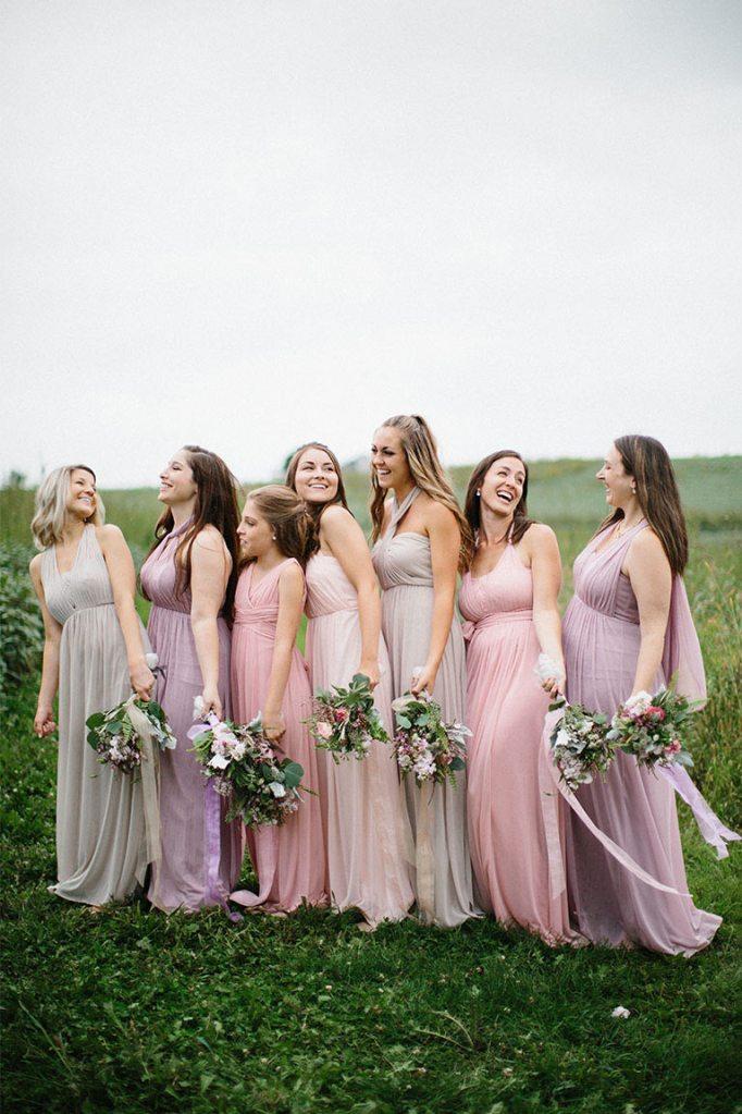 blush pink and nostalgia rose bridesmaid dresses for a spring wedding