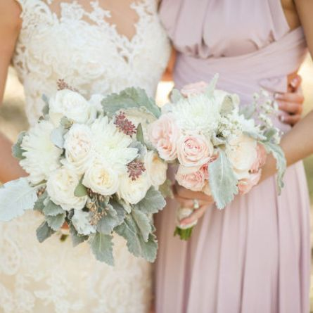nostalgia rose bridesmaid dress with a blush pink and green bouquet for a spring wedding