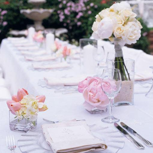 blush pink spring wedding table decor