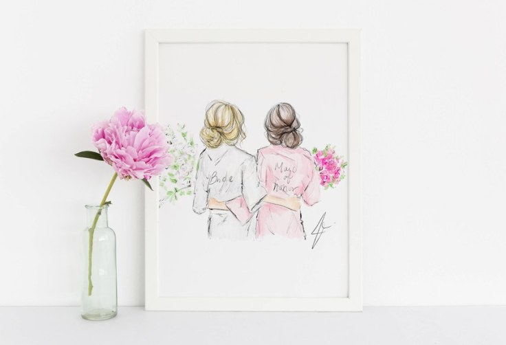 bridesmaids gift ideas 2019 art print illustration studio i do