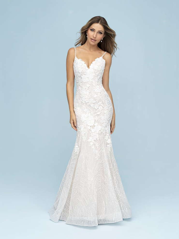 spring fitted wedding dress with floral details allure bridals 9613 studio i do virginia beach