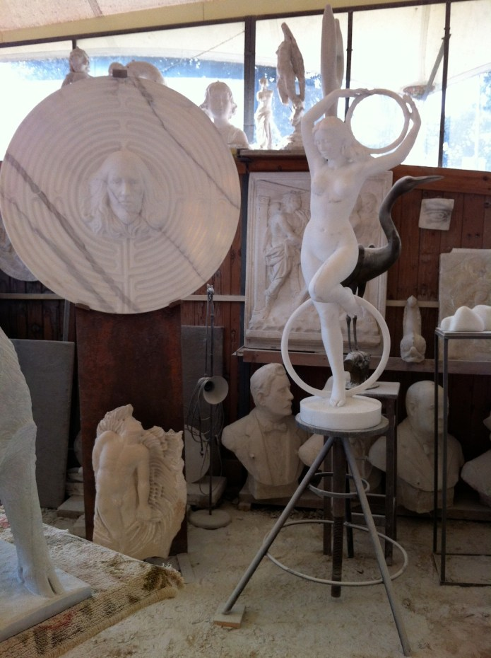 Sculptures in the studio.