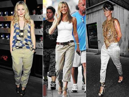 kristen Bell, Jennifer Aniston and rihanna in khakis