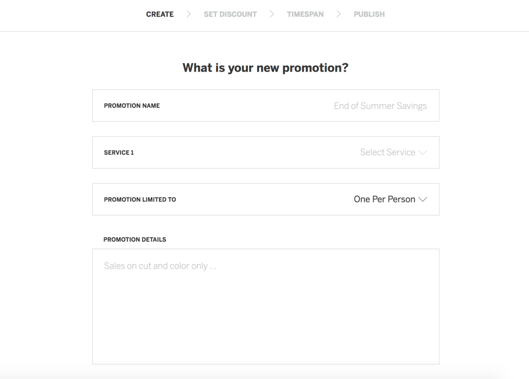 StyleSeat Promotion - Name your promotion