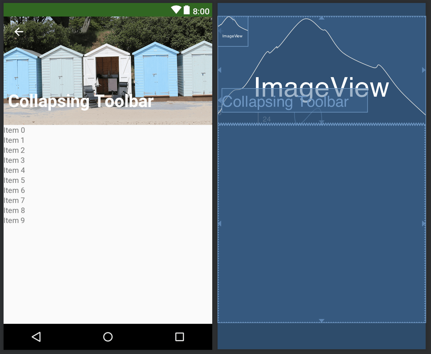 ⚡ Android material design collapsing toolbar layout example