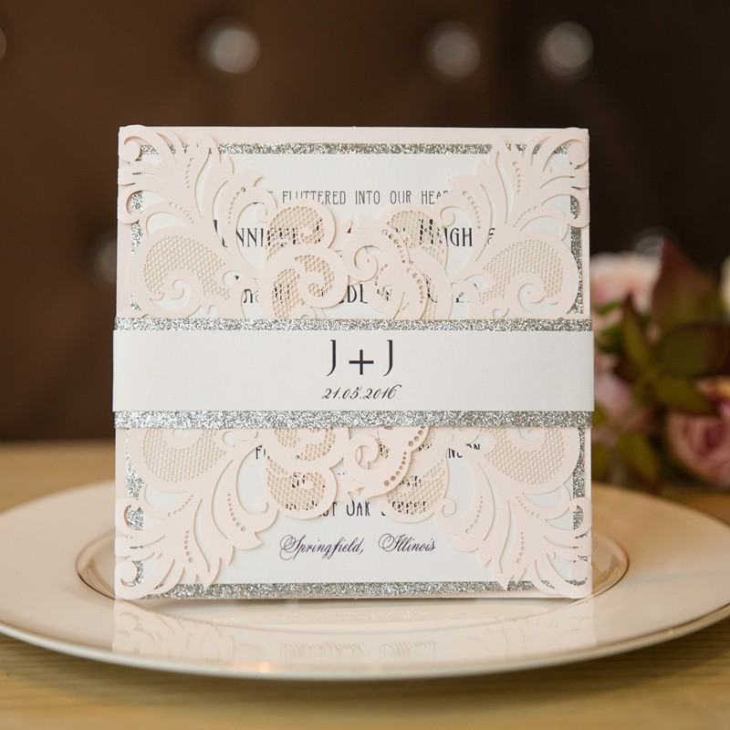 Modern Laser Cut Wedding Invitations