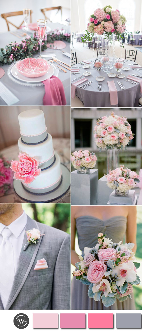 Six Beautiful Pink And Grey Wedding Color Combos With