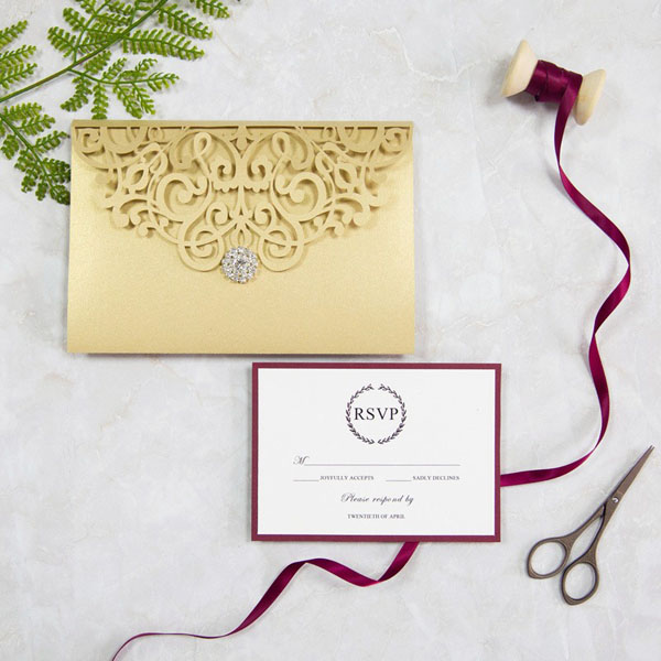 Burgundy And Gold Inspired Wedding Matched Invitation