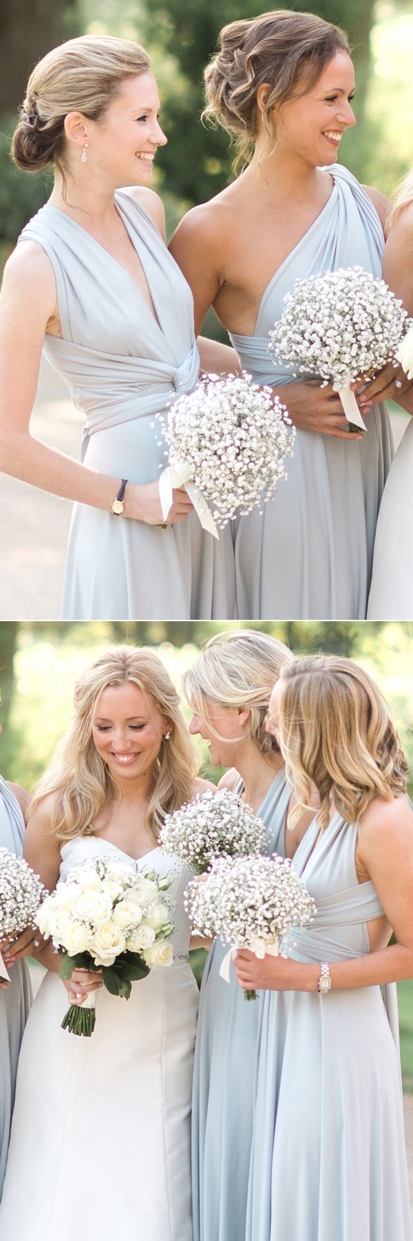 nice dusty blue bridesmaid dresses