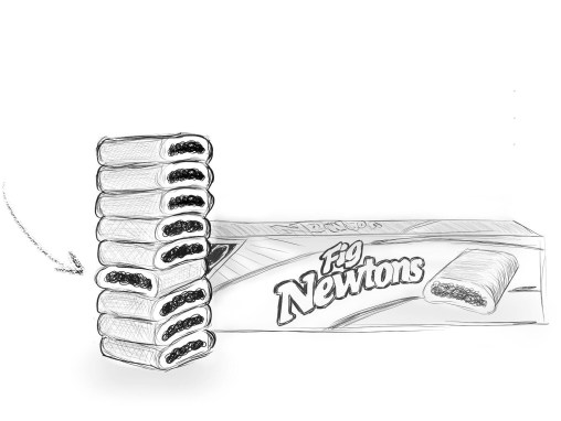 Fig Newton Stack with One Facing the Wrong Way
