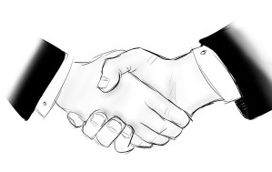 Two Hands Handshake signifying code contracts