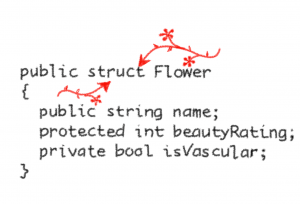 c struct example with flowers