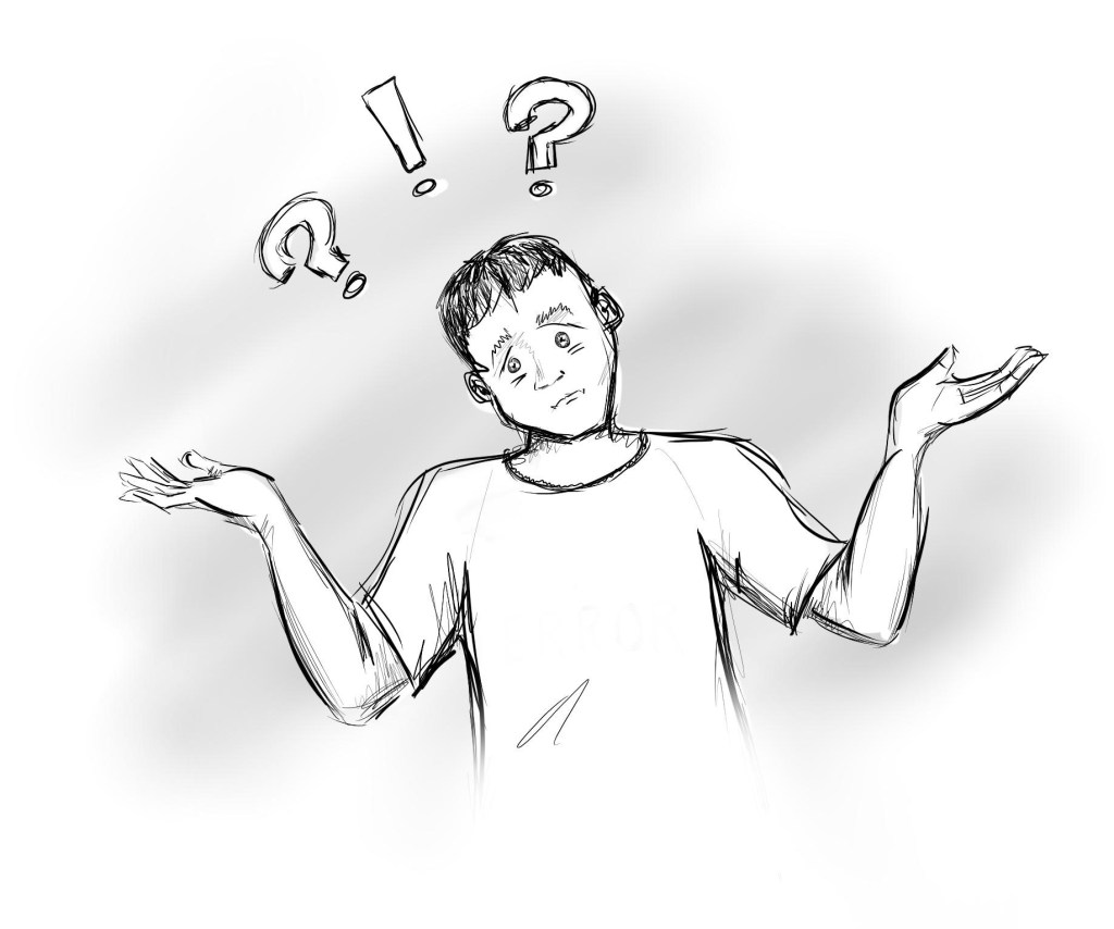 Man shrugging, trying to figure out why intellisense isn't working