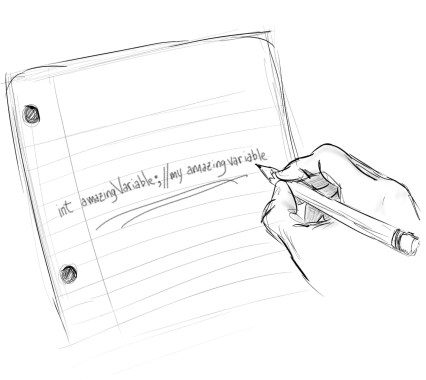 A hand writing software documentation on paper