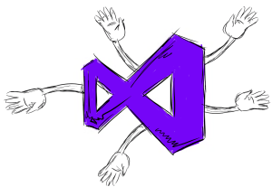 Visual studio extensions illustrated by hands