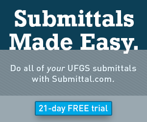 Do all of your UFGS submittals with Submittal.com. 21-day Free Trial