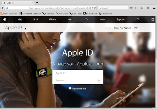 Spoofed Apple ID Page